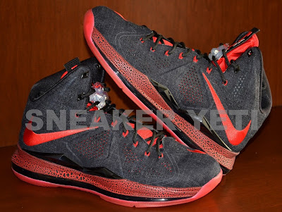 nike lebron 10 sportswear pe red denim 4 01 Detailed Look at Nike LeBron X NSW Black Denim PE