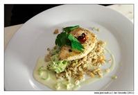 Máslová ryba na chilli na zeleninových krupkách se smetanovým pórkem