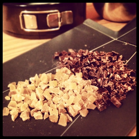 Diced dark chocolate and crystallised ginger