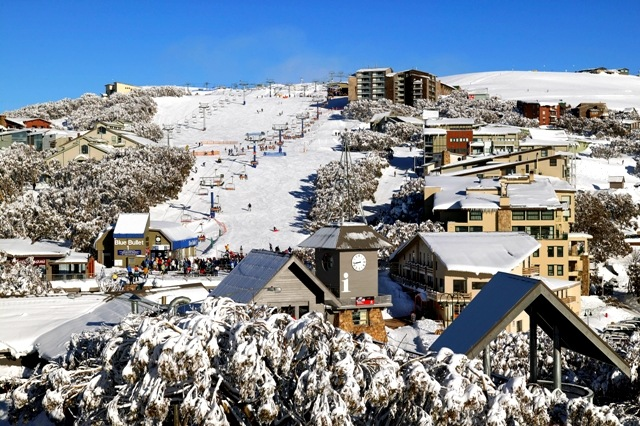 Snow covered rooves on Bourke St village