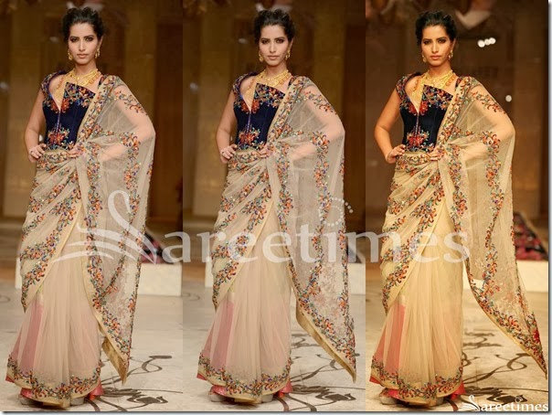 Rohit_Bal_Cream_Net_Saree