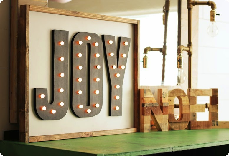 DIY RUSTIC LIGHTED JOY MARQUEE SIGN