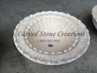 Floral Carved Round Vessel Sink New Crema Marfil Limestone Honed.