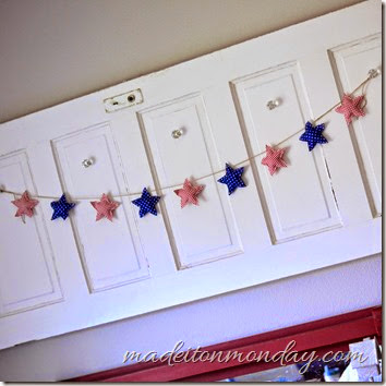 patriotic star garland red white blue silver polka dot
