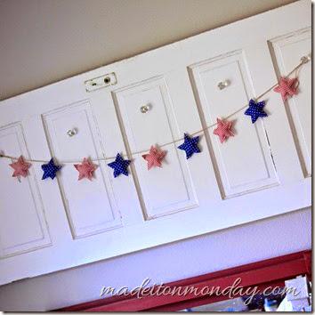 patriotic star garland red white blue silver polka dot