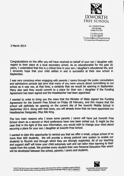 Seckford Letter to Parents P1