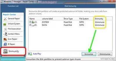 windows 7 manager - disk immunity