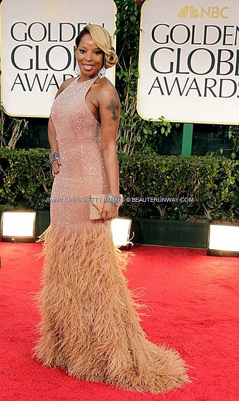 JIMMY CHOO Cybelle Clutch MARY J BLIGE Michael Kors Crystal Gown 69TH ANNUAL GOLDEN GLOBES 2012 AWARDS LOS ANGELES