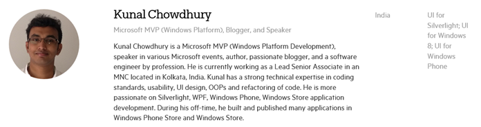 Telerik Developer Expert - Kunal Chowdhury
