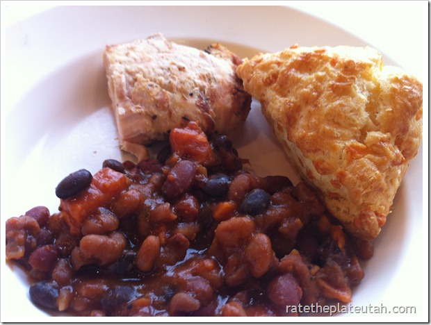 Molly's Kid Grilled Chicken Baked Beans Cheddar Biscuit
