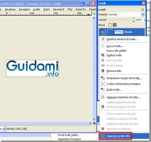 GIMP Livelli Aggiungi canale alfa