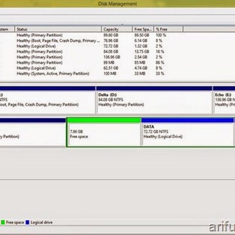 Mengatasi partisi Free Space pada Disk Management tidak bisa dihapus dan dibuat