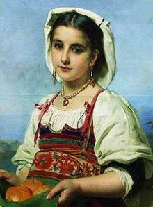Giovane italiana con melangole (K.Makovskij, dopo 1870)