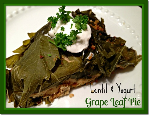 lentil and yogurt grape leaf pie