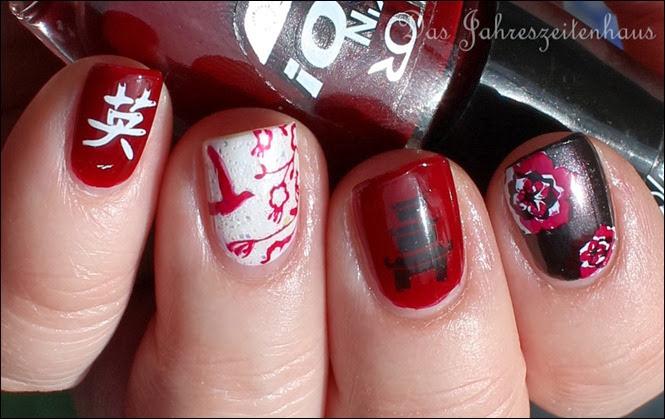 Nail Art Geisha Kirschblüte Japan Asien Design 9