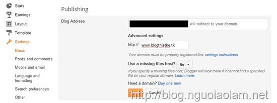 Hướng dẫn cài đặt tên miền tuỳ chỉnh cho Blogger