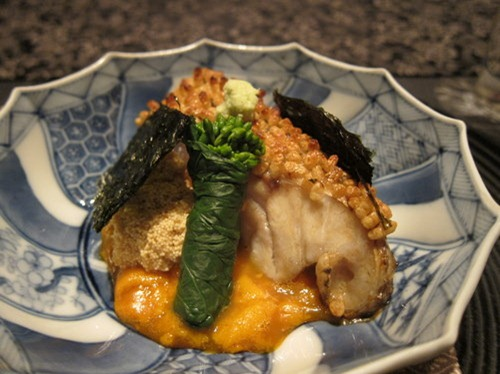 """Grilled Seaperch"" from CHOSHI with ""Roasted Rice"" over the skin and ""Black Vinegar"", ""Sea urchins"" Soy Sauce"