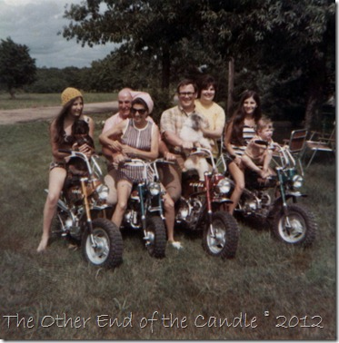 Aunt Margaret (& Katie), Grampa & Gramma, Dad, Mom (& my dog Buttons), Aunt Margie and me -- on the new Trail 70's.