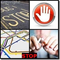 STOP- 4 Pics 1 Word Answers 3 Letters