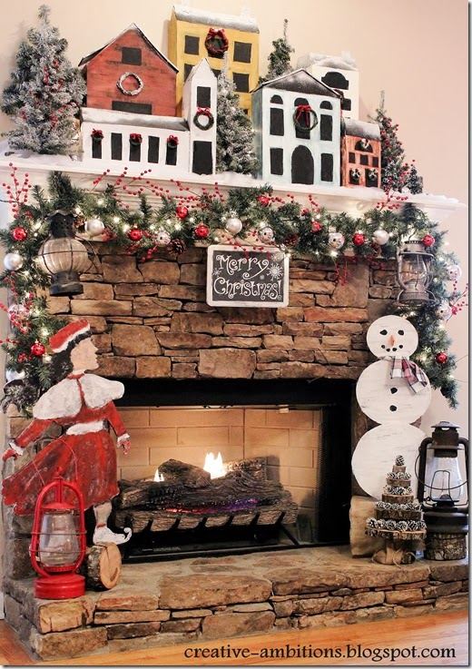 Snowy Village Christmas Mantel