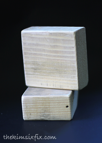 Sanded wooden blocks