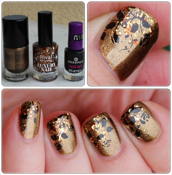 Autumn Nail Art Herbst Nageldesign Ranke Blätter Laub 09