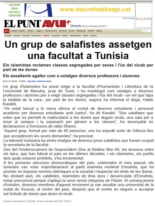 Integrisme religiós en Tunísia ElPuntAvui 291111