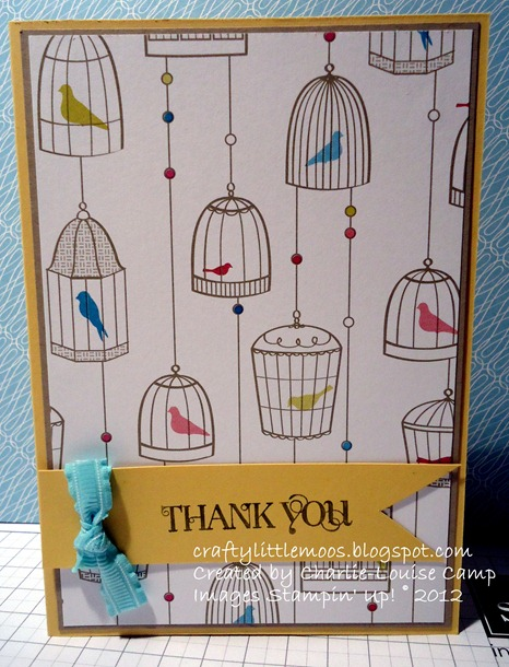 birds of a feather dsp thank you card simple layout craftylittlemoos.blogspot.com Created by Charlie-Louise Camp Images Stampin' Up! © 2013