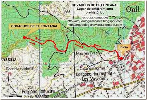 Mapa ruta Onil - El Fontanal