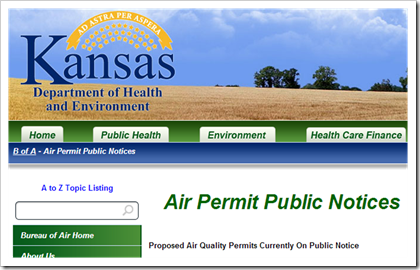 Kansas Department of Health and Environment Air Permit Public Notices