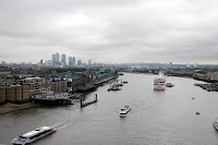 Looking east from Tower Bridge, towards Canary Wharf