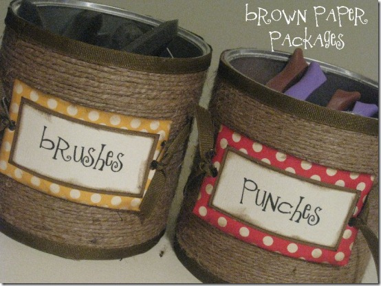 Aluminum food cans repurposed as storage and organization containers wrapped in jute with cute labels