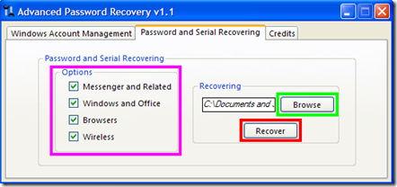 Password and Serial Recovering