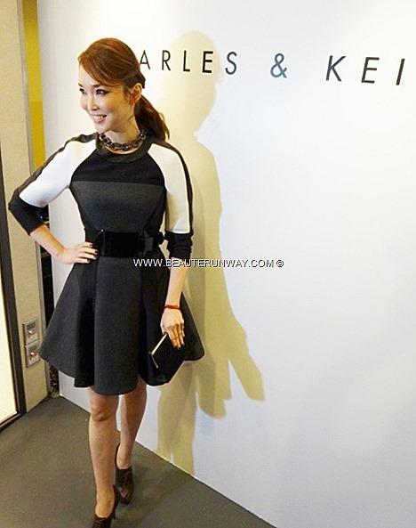 Fann Wong Charles & Keith Opening Singapore Super Star Celebrity Actress radiant skin black grey white skater dress, Charles & Keith ankle booties necklace clutch bag. Fann  Wong  Hollywood production Shanghai Knights Jackie Chan