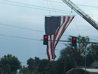 Flag being flown by the Washington Fire Department at the Washington Fire Station