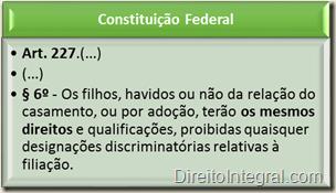 Constituição Federal - Art. 227,§6º - Igualdade entre os filhos provenientes do casamento e os adotados, bem como os advindos de relação extraconjugal