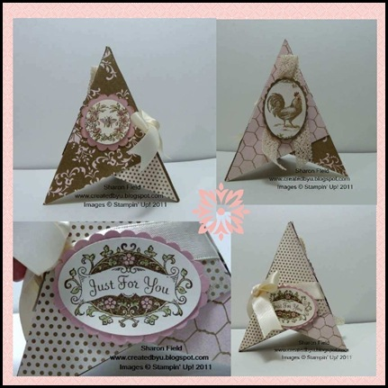 3D, Pyramid, card, vc_rocks, beau_chateau, designer series paper, Libby_dyson, tutorial, super saturday, createdbyu_Blogspot, sharon_field, punches, bunches_of_punches, blog_hop