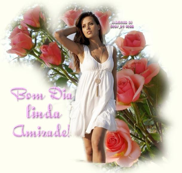 Bom dia linda amizade imagem de mulher com rosas