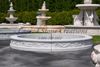 8' Round Acanthus Fountain Surround, Bianco Catalina