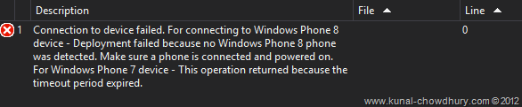 WP7 Application Deployment Failed from Visual Studio 2012