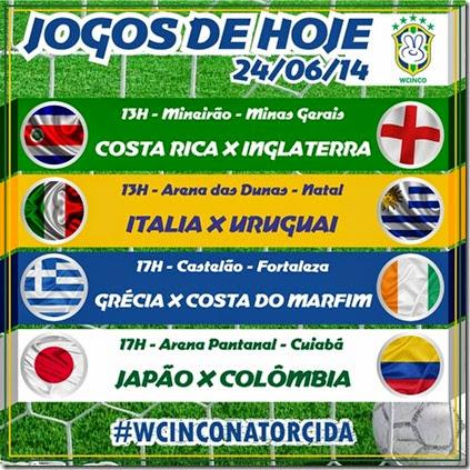 WCINCO - JOGOS DE HOJE 24.06