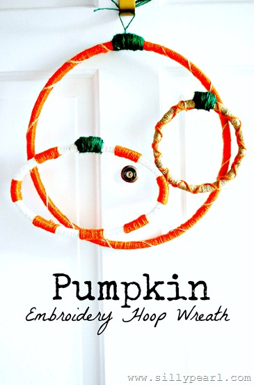 Pumpkin Embroidery Hoop Wreath - The Silly Pearl