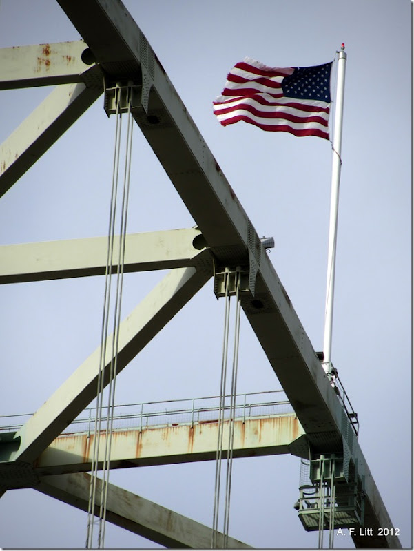 Fremont Bridge Flag.  Portland, Oregon.  April 2, 2012.  Photo of the Day, May 28, 2012.  Memorial Day.