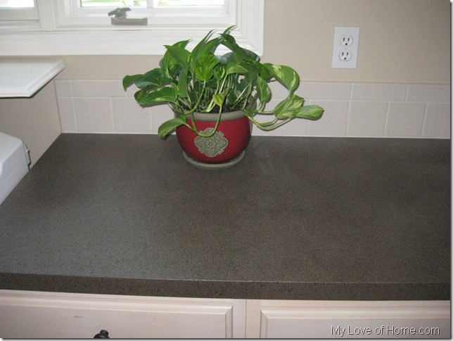 Brown Stone countertop laminate red vase plant