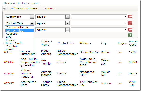 Customers advanced search bar with default Search Mode settings.