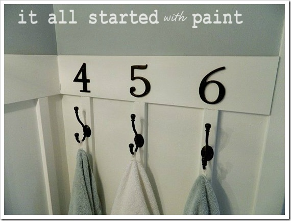 Powder Room Makeover After Numbered Hooks more