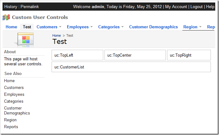 Test page with uncustomized user controls.