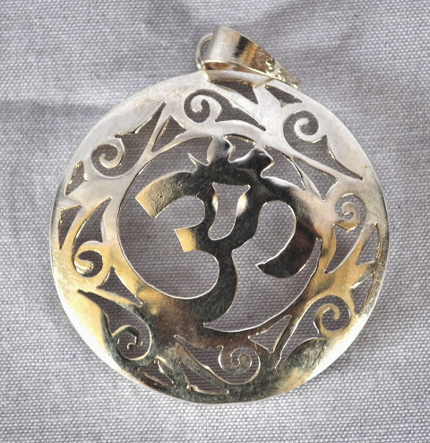 White Metal Pendant with OM