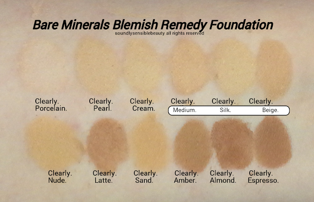 Bare Minerals Blemish Remedy Foundation; Review & Swatches of Shades