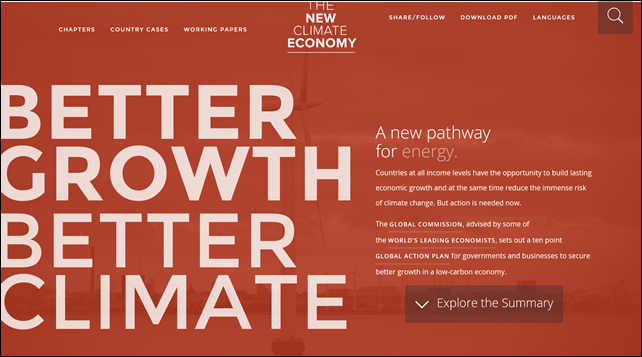Screenshot of the home page for 'The New Climate Economy', http://newclimateeconomy.report/. Graphic: newclimateeconomy.report